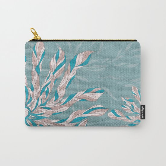 Flower Power Teal/Pink Carry-All Pouch