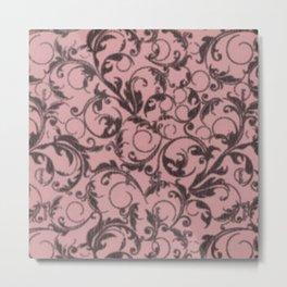 Vintage Swirls Bridal Rose Metal Print