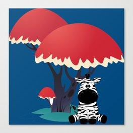 Cute Zebra Sitting Under an Umbrella Tree Canvas Print
