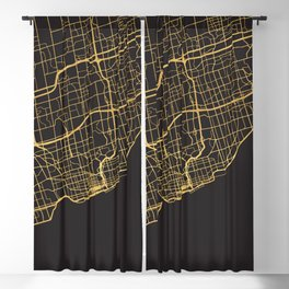 TORONTO CANADA GOLD ON BLACK CITY MAP Blackout Curtain