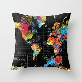 World Map Black - 1 Throw Pillow