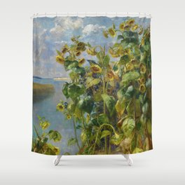 Tidewater Sunflowers on the seacoast landscape painting by Hélène Funke Shower Curtain