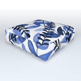 Watercolor branches - blue Outdoor Floor Cushion