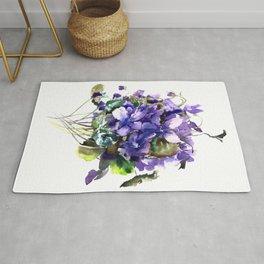 Violet flowers, wild violet flowers Rug