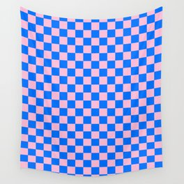 Cotton Candy Pink and Brandeis Blue Checkerboard Wall Tapestry