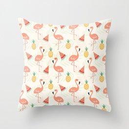 Watermelon Flamingo Pineapple Throw Pillow