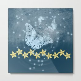 Mysterious butterflies in blue with gold flowers Metal Print