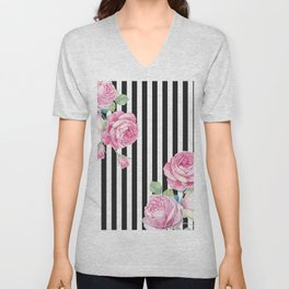 Black white blush pink watercolor floral stripes Unisex V-Neck