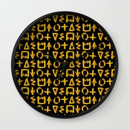 Black and Gold Graffiti Print Wall Clock