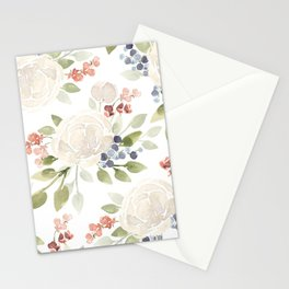 Watercolor ranunculus - Watercolor floral pattern Stationery Cards