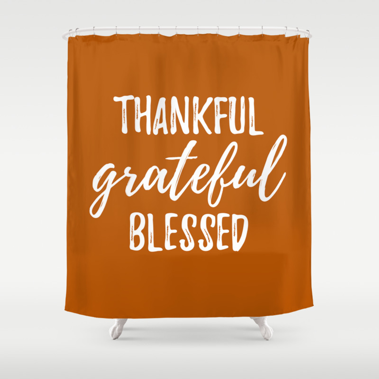 Thankful Grateful Blessed Orange And White Script Shower Curtain By Heartlandlettering Society6