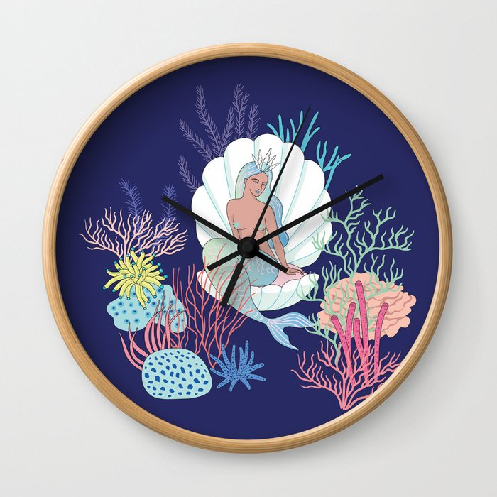 mermaid in a shell Wall Clock