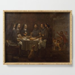 Antoni Viladomat - Saint Francis and Saint Clare at Supper in the Convent of Saint Damian (1720s) Serving Tray