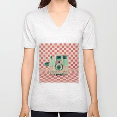 Mint Retro Camera on Red Chequered Background  Unisex V-Neck