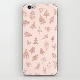 Modern rose gold glitter Christmas trees pattern on blush pink iPhone Skin
