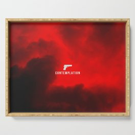 edgy red clouds gun symbol Serving Tray