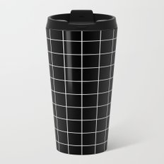 Black White Grid Metal Travel Mug