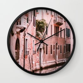 Venice pink canal with old buildings travel photography Wall Clock
