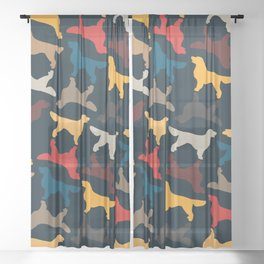 Golden Retriever Silhouettes - Colorful Pattern Sheer Curtain
