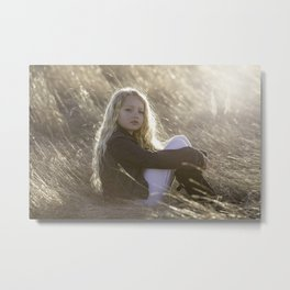 Model Little Girl Child Portrait Childhood Metal Print