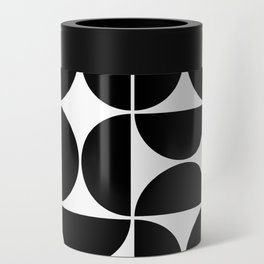Mid Century Modern Geometric 04 Black Can Cooler