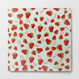 Patrón de fresas Metal Print