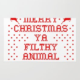 Merry Christmas Ya Filthy Animal Red Rug