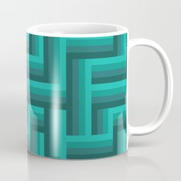 Retro Lattice in Teal Coffee Mug