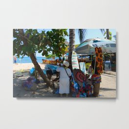Little Business on the Beach Metal Print