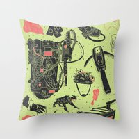 ghostbusters Throw Pillows featuring Artifacts: Ghostbusters by Josh Ln