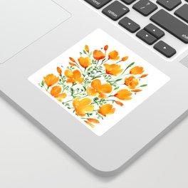 Watercolor California poppies Sticker