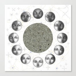 the moon's cycle on white Canvas Print
