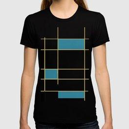 MidCentury Modern Art Aqua Gold Black T-shirt