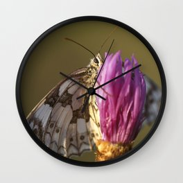 MARBLED WHITE BUTTERFLY Wall Clock