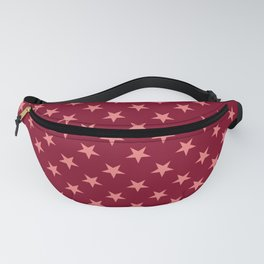 Coral Pink on Burgundy Red Stars Fanny Pack