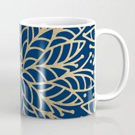 Modern chic navy blue faux gold floral mandala Coffee Mug