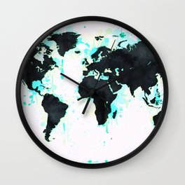 World Map Turquoise Paint and Black Ink Wall Clock