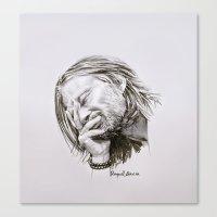 radiohead Canvas Prints featuring Radiohead Portrait by Raquel García Maciá