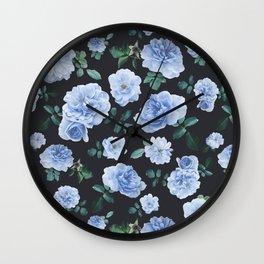 Blue Roses Flower pattern Wall Clock