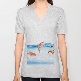 Happy koi fish- fishes sea water lake Unisex V-Neck