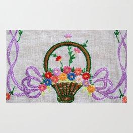 Flower Basket Embroidery Rug