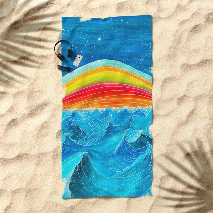 Rainbow Mountain Beach Towel