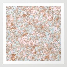 Mint Blush & Rose Gold Metallic Marble Texture Art Print