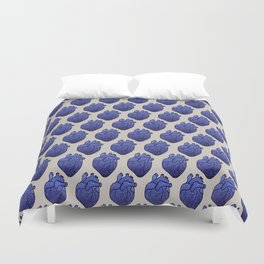 Space love / cosmic gold stars pattern on blue tattoo heart Duvet Cover