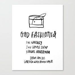 Old Fashioned Illustrated Cocktail Recipe Canvas Print