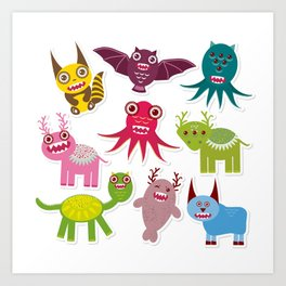 Sticker set Funny monsters collection on white background Art Print