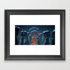 Monk in modern times Framed Art Print