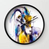 goat Wall Clocks featuring Goat  by Slaveika Aladjova