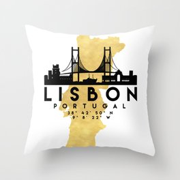 LISBON PORTUGAL SILHOUETTE SKYLINE MAP ART Throw Pillow
