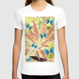 butterfly and fern beige T-shirt